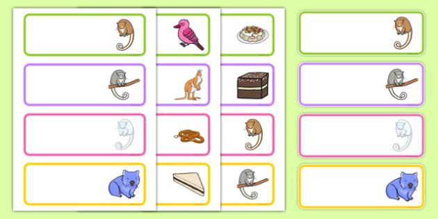 Bush Magic Editable Drawer Peg Name Labels - australia, possum magic, bush magic, drawer, peg, name, labels, display
