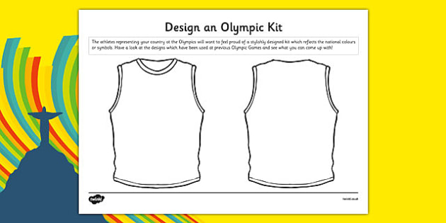 Design an Olympic Kit Worksheet / Activity Sheet - Running, national, medal, vest, athlete, worksheet