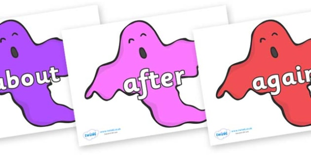KS1 Keywords on Ghosts (Multicolour) - KS1, CLL, Communication language and literacy, Display, Key words, high frequency words, foundation stage literacy, DfES Letters and Sounds, Letters and Sounds, spelling