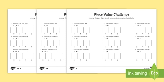 place value challenge worksheet worksheet place value place value. Black Bedroom Furniture Sets. Home Design Ideas