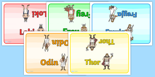 Viking Gods Group Table Signs - viking god group signs, viking god table signs, viking god table cards, history group signs, frey, freya, loki, odin, thor
