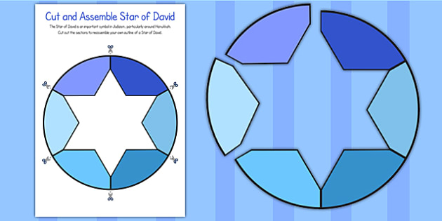 Cut and Assemble Star of David Activity - star of david, cut, assemble
