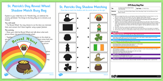 St Patrick's Day Reveal Wheel Shadow Match EYFS Busy Bag Plan and Resource Pack - St Partick's Day, reveal, wheel, shadow, match, silhouette, EYFS plan