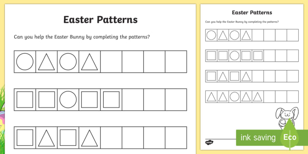 easter repeating patterns worksheet activity sheet cfe early. Black Bedroom Furniture Sets. Home Design Ideas