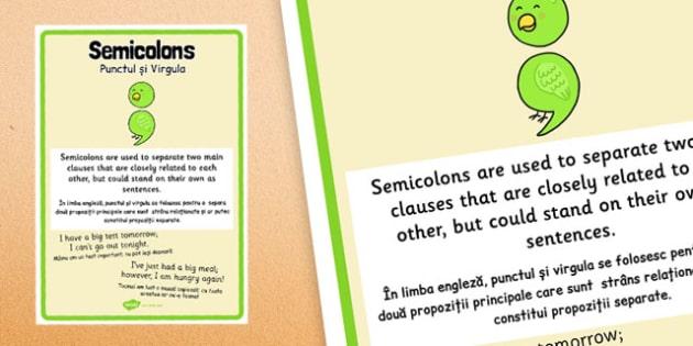 Semi-colon Punctuation Poster Romanian Translation - romanian, semi-colon, punctuation, poster, display