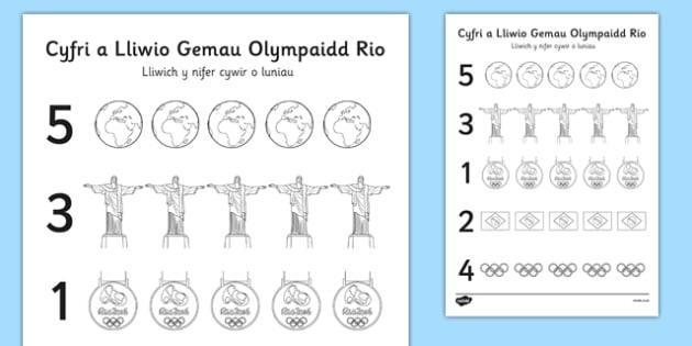 Cyfri a lliwio Gemau Olympaidd Rio 2016 - welsh, cymraeg, brasil, gemau olympaidd, rio, lliwio, cyfri