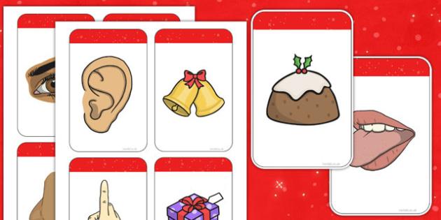 Five Senses Matching Cards (Christmas) - Christmas, xmas, matching, activity, game, senses, tree, advent, nativity, santa, father christmas, Jesus, tree, stocking, present, activity, cracker, angel, snowman, advent , bauble