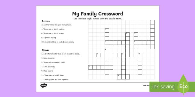 Family Member Crossword Easy Crossword Puzzle For Kids