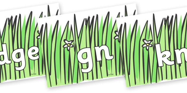 Silent Letters on Wavy Grass - Silent Letters, silent letter, letter blend, consonant, consonants, digraph, trigraph, A-Z letters, literacy, alphabet, letters, alternative sounds