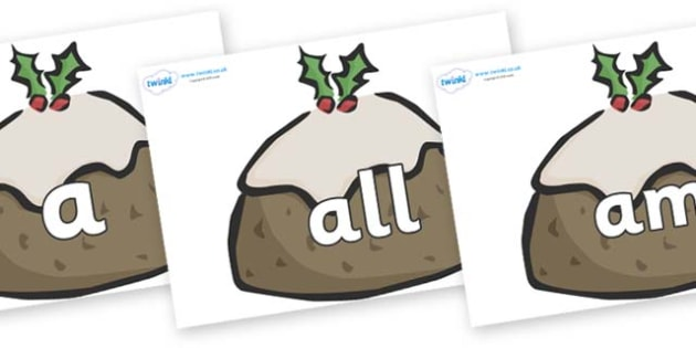 Foundation Stage 2 Keywords on Christmas Puddings - FS2, CLL, keywords, Communication language and literacy,  Display, Key words, high frequency words, foundation stage literacy, DfES Letters and Sounds, Letters and Sounds, spelling