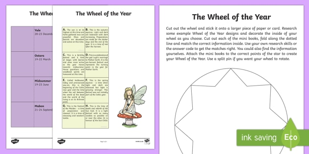 Wheel of the Year Worksheet / Activity Sheet