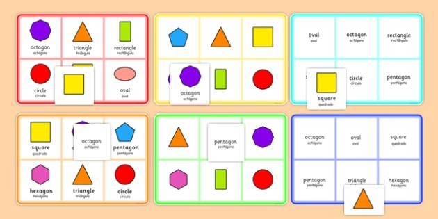 2D Shape Bingo Portuguese Translation - portuguese, 2d shape, bingo, game, activity, 2d, shape, maths