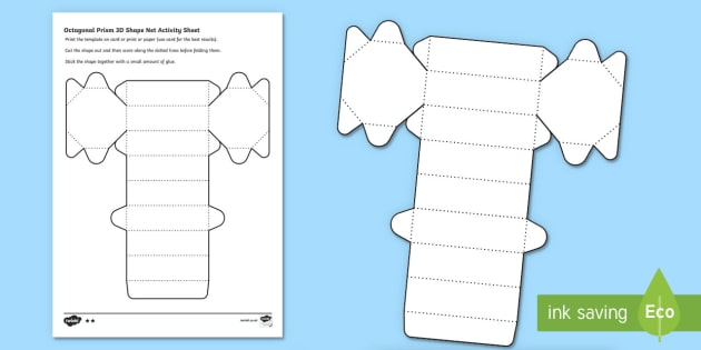 Octagonal Prism 3D Shape Net Worksheet / Activity Sheet