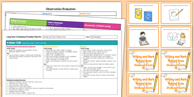 Writing and Mark Making Area Editable Continuous Provision Plan and Challenge Cards Pack Reception FS2