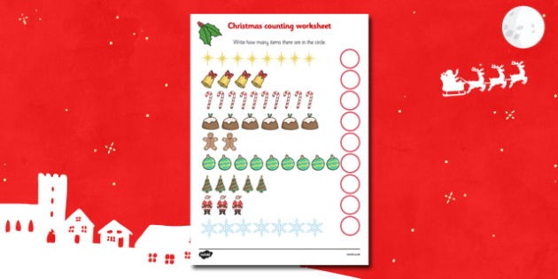 Christmas Themed Counting Sheet - christmas, counting, numeracy