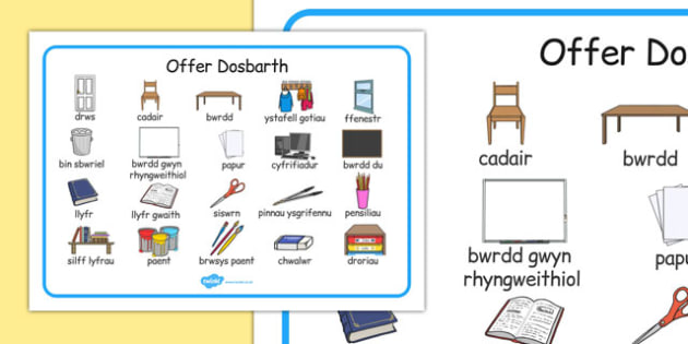Offer Dosbarth Word Mat Cymraeg - cymraeg, welsh, wales, classroom, objects, word mat, word, mat