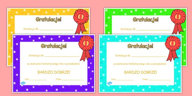 Certyfikat Koniec roku w przedszkolu po polsku - wyróżnienie