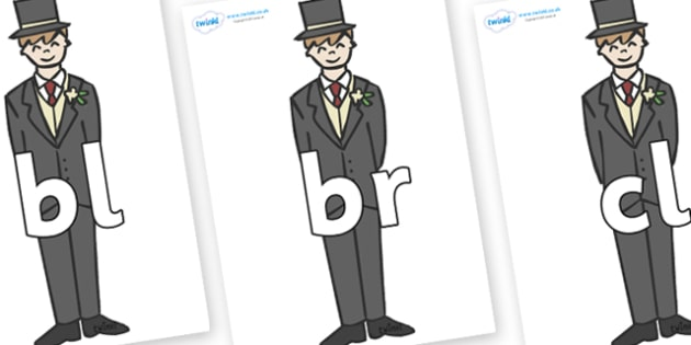 Initial Letter Blends on Grooms - Initial Letters, initial letter, letter blend, letter blends, consonant, consonants, digraph, trigraph, literacy, alphabet, letters, foundation stage literacy