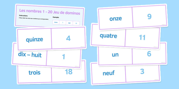 Numbers 1-20 Dominoes French - maths, count, game, match, pair work, group work, counting