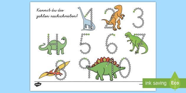 Dinosaurier Zahlen Nachschreiben 1 10 Arbeitsblatt - Dinosaurier