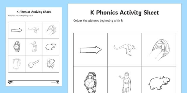 k Phonics Colouring Worksheet / Activity Sheet - Republic of Ireland, Phonics Resources, sounding out, phonics assessment, initial sounds, activity s