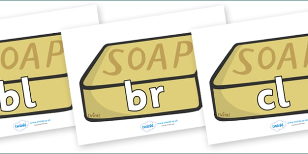 Initial Letter Blends on Soap - Initial Letters, initial letter, letter blend, letter blends, consonant, consonants, digraph, trigraph, literacy, alphabet, letters, foundation stage literacy
