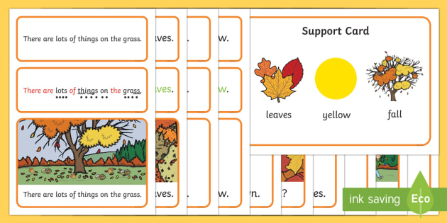 Autumn Simple Sentence Cards - reading, sentences, eyfs, word cards, decoding, phase 4, grapheme, phoneme, sound, tricky words