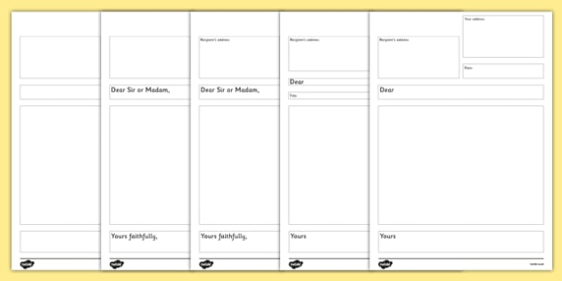 formal letter writing templates