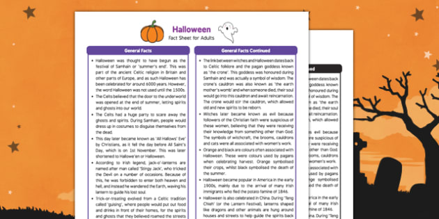 Halloween Fact Sheet for Adults - Early Years, KS1, festivals, Hallowe'en, fact sheet, adults, halloween