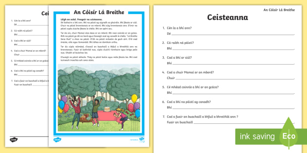 NEW The Birthday Party Reading Comprehension Gaeilge