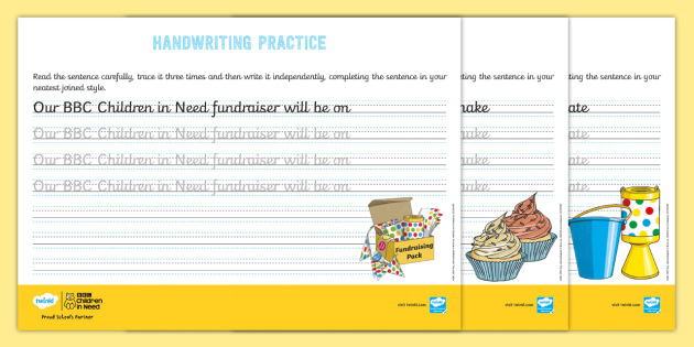 new ks2 bbc children in need cursive handwriting practice worksheets. Black Bedroom Furniture Sets. Home Design Ideas