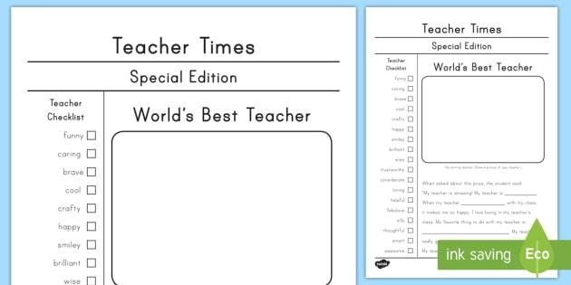 Teacher Appreciation Newspaper Template Worksheet Activity