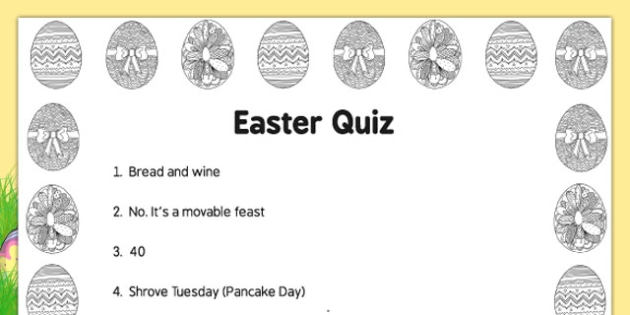 Elderly Care Easter Quiz - adult education, nursing home, activities, questions