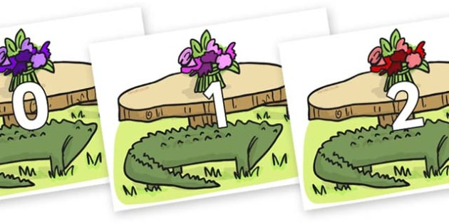 Numbers 0-31 on Trick Four to Support Teaching on The Enormous Crocodile - 0-31, foundation stage numeracy, Number recognition, Number flashcards, counting, number frieze, Display numbers, number posters