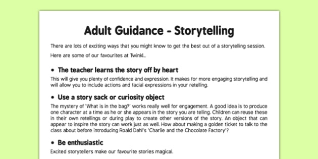 Storytelling Adult Guidance - reading, writing, stories, fiction