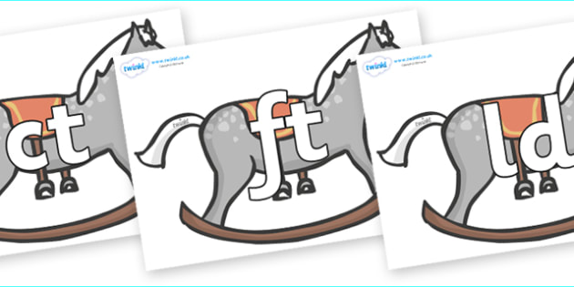 Final Letter Blends on Rocking Horses - Final Letters, final letter, letter blend, letter blends, consonant, consonants, digraph, trigraph, literacy, alphabet, letters, foundation stage literacy