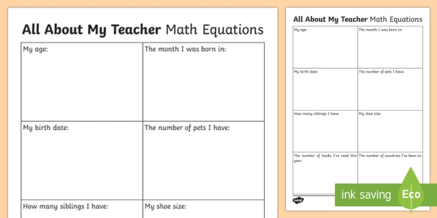 All About My Teacher   Math Equations Worksheet / Activity Sheet - Beginning of School Resources, back to school, new, teacher, maths, math, problem solving, equation,