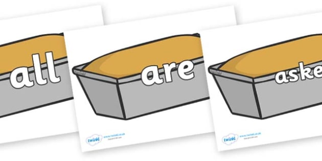 Tricky Words on Bread Loaves - Tricky words, DfES Letters and Sounds, Letters and sounds, display, words