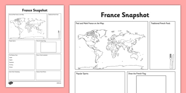 France Snapshot - CfE, second level, fact file, people and place, France, comparison study