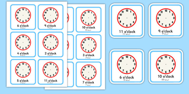 Write the Time O'Clock Cards Arabic Translation - arabic, write, time, o'clock, cards, clocks