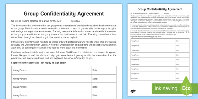 Group Confidentiality Agreement Worksheet Activity Sheet