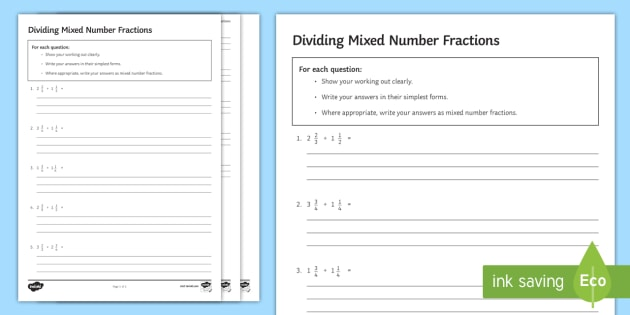 Dividing Mixed Number Fractions Worksheet / Worksheet - worksheet ...