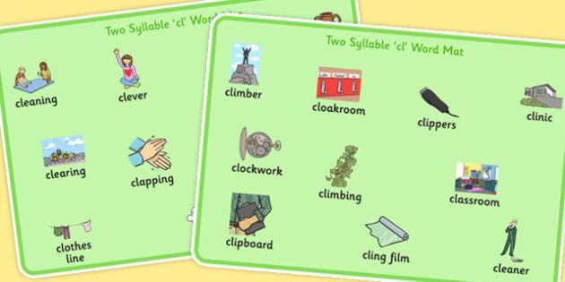 Two Syllable CL Word Mats - two syllable, cl, word mats, word, mats, speech, language