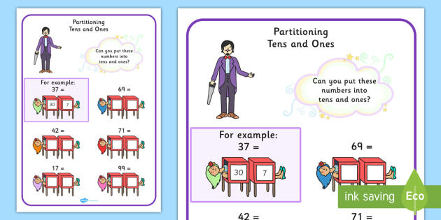 maths magician partitioning worksheet tens and ones numeracy. Black Bedroom Furniture Sets. Home Design Ideas
