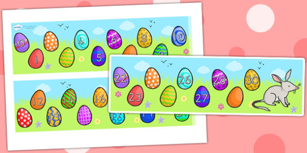 Missing Number Number Line 0 30 Easter - number line, easter, RE