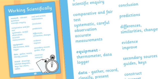 LKS2 Working Scientifically Scientific Vocabulary Poster - poster