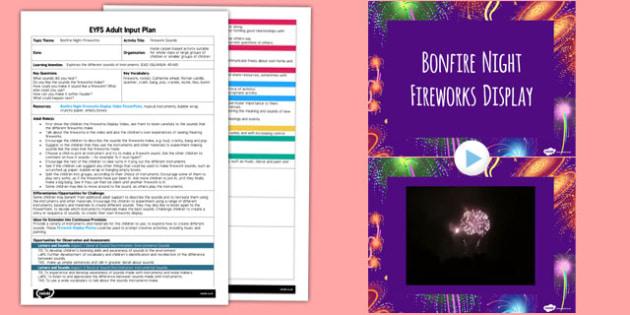Firework Sounds EYFS Adult Input Plan and Resource Pack