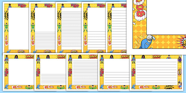 Comic Heroes Themed Page Borders - comic heroes, themed, page borders