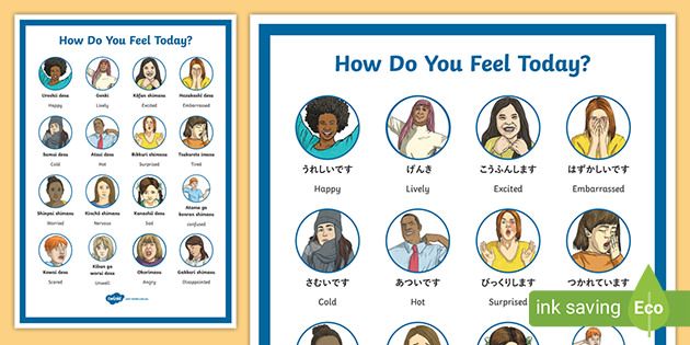 How Do You Feel Today Emotions Chart Japanese English