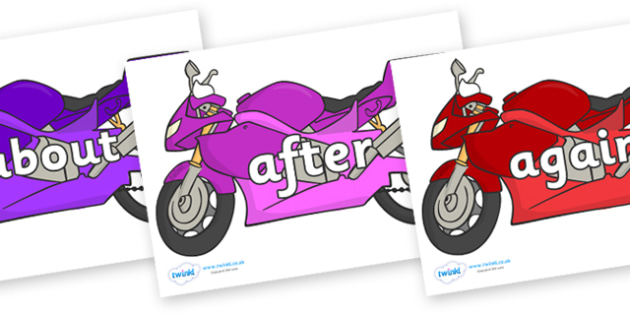 KS1 Keywords on Motorbikes - KS1, CLL, Communication language and literacy, Display, Key words, high frequency words, foundation stage literacy, DfES Letters and Sounds, Letters and Sounds, spelling